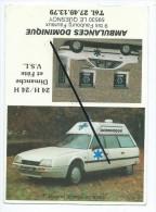 Carte De Visite - Ambulances Dominique - Le Quesnoy 59530 - Voitures,autos,automobile S CX. - Tarjetas De Visita