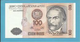 PERU - 100 INTIS - 26.06.1987 - Pick 133 - UNC. - RAMON CASTILLA - 2 Scans - Peru