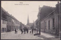 Pölitz (Pommern) AK Mühlenstraße Mit Kirche  1907, Karte Rechts Mit Bug - Pommern