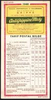 BUVARD - VLOEIBLAD.TARIF POSTAL BELGE / POSTTARIEVEN - 1949 - Cachet ANTIGRIPPINE - Postal Rates