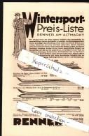 Alter Wintersport  Katalog / Prospekt , Renner Am Altmarkt In Dresden , Preisliste , Schnee , Schlitten !!! - Wintersport