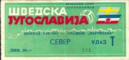 Sport Match Ticket UL000261 - Football: Yugoslavia Vs Sweden 1951-09-02 - Match Tickets