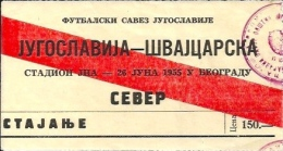 Sport Match Ticket UL000262 - Football: Yugoslavia Vs Switzerland 1955-06-26 - Match Tickets