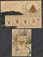 UNION ISLAND , 2011, MNH ,SPIDERS, PRAYING MANTIS,  SHEETLET +S/SHEET - Spiders