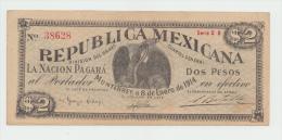 Mexico 2 Dollars 1914 AXF Pick S-938 RARE - Mexico