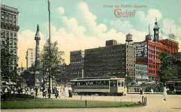 235159-Ohio, Cleveland, Public Square, Trolley, Century Post Card Co No 18616
