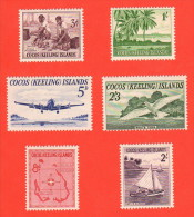 COC SC #1-6 MNH  1963 First Issue W/#6 Off-center, CV $26.25 - Cocos (Keeling) Islands