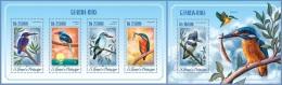 st14510ab S.Tome Principe 2014 Birds Kingfishers Fish 2 s/s
