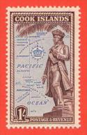 COO SC #138 MNH  1949 Capt. James Cook Statue, CV $3.50 - Cook Islands