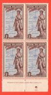 COO SC #138 MNH B4  1949 Capt. James Cook Statue W/Printer Inscr. @ B, CV $14.00 - Cook Islands