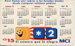 NICARAGUA 15 CORDOBAS CALENDAR 1998 CALLS TO USA - Nicaragua