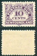 NEWFOUNDLAND 1939 Postage Due 10c. Violet, Perf. 10, VF MNH - 1908-1947