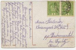 CZECHOSLOVAKIA 1918 Coloured Postcard (Prague Cathedral) With Austrian 5 H. X 2 - Tchécoslovaquie