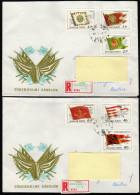UNGARN 1981 - Historische Fahnen - 2 Reko Briefe Nach Innsbruck - Briefmarken