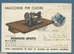 CARTOLINA PUBBLICITARIA - MACCHINE PER CUCIRE - RODOLFO SPOTTI MILANO - Werbepostkarten