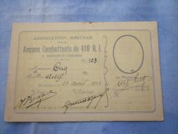 CARTE 1921 ANCIENS COMBATTANTS 416 RI ET PHOTOS PERSONNELLES DE L INTERESSE MILITAIRE - Documents