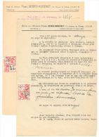 Lot De 2 Lettres à Entête - Etude De L' Hussier F. DEWEZ - MOGENET De COUVIN 1945 (b156) - Factures & Documents Commerciaux