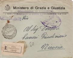 """ROMA  27.5.1945 /  NICOSIA -  Cover _ Lettera Racc. In Franchigia _ """" Commissione Di Epurazione """" - 5. 1944-46 Lieutenance & Umberto II"""