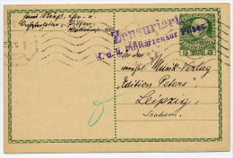 CZECHOSLOVAKIA 1916 5 H. Postal Stationery Card With Pilsen Military Censor Cachet. Michel P216 - Czechoslovakia