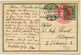 CZECHOSLOVAKIA 1908 5 H. Jubilee Postal Stationery Card With Brno Commemorative Postmark.  Michel P208 - Czechoslovakia