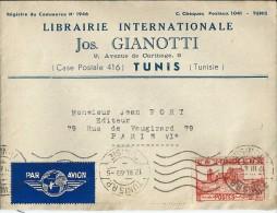 Enveloppe  -   Cachet  Au  Départ  De    Tunis     (  Algérie  )  à   Destination  De    Paris      Par  Avion - 1849-1876: Klassik