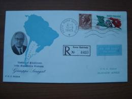 1965 FDC Rodia : Visita Del Presidente Saragat In Argentina - R. Roma Quirinale - 6. 1946-.. Republic