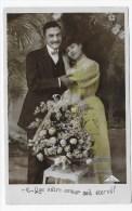 (RECTO / VERSO) COUPLE EN 1908 - CACHET AMBULANT TRI FERROVIAIRE CARPENTRAS A AVIGNON - 75 - Paare