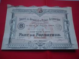 APPAREILS DE PESAGE AUTOMATIQUE (1927) - Unclassified