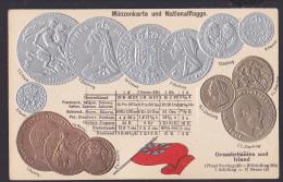 Großbritannien Irland England Prägekarte Mit Münzen Und Nationalflagge Wechselkurse Um 1900 - Coins (pictures)
