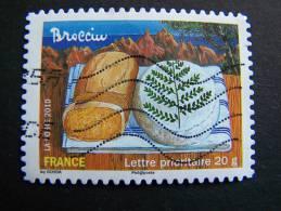 OBLITERE FRANCE ANNEE 2010 N° 437 BROCCIU SERIE SAVEURS DE NOS REGIONS AUTOCOLLANT ADHESIF - France