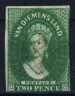Tasmania Van Diemensland 1855 ,  Yv Nr 4  SG 15 Used  Signed/ Signé/signiert/ Approvato BRUN - Gebruikt
