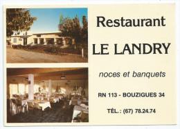 """Cpsm Bon Etat , 10,5x15cm ,  Bouzigues, Restaurant  """"le Landry"""" Carte Rare , Plan Au Verso - Altri Comuni"""
