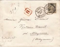 1877 .LETTRE. Yv 72 SEUL SUR LETTRE. RECOMMANDE ( 4 CACHETS CIRE) PARIS R. TAITBOUT/ 5858 - Marcophilie (Lettres)
