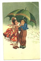 Deux Enfants Dans La Pluie Et Le Vent. Parapluie. JC - Contemporary (from 1950)