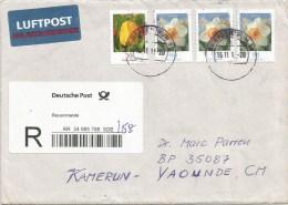 Germany 2011 Eükbin Tulip Narcissus Barcoded Registered Cover To Cameroon - R- Und V-Zettel