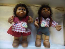 lot Vintage 2 Figurines Steiff hedgehog Mucki  et Macki de 1950 - 1955 @ HERISSON 12 cm fille et gar�on