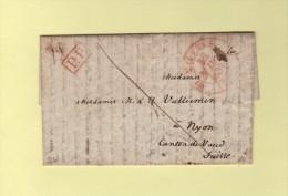 Valence - 25 - Drome - PP Port Paye - Destination Canton Vaud Suisse Nyon - 15 Mars 1833 - Storia Postale