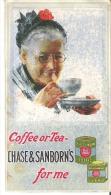 "Chase & Sanborn´s  For Me  Coffee Or Tea  6"" X 3.4""  15.5 Cm X 8.5 Cm - Coffee & Tea"