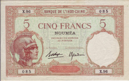 Banque De L´Indochine. Nouméa. Billet De 5 Francs - Indocina