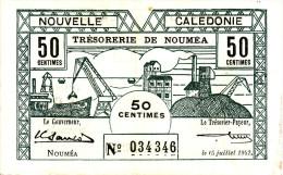 INDOCHINE - NOUVELLE CALEDONIE. Trésorerie De Nouméa. 50 Centimes - - Indocina