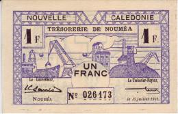INDOCHINE - NOUVELLE CALEDONIE. Trésorerie De Nouméa. 1 Franc - - Indochine
