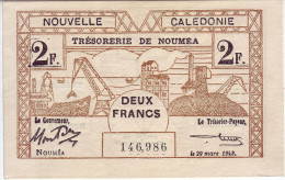INDOCHINE - NOUVELLE CALEDONIE. Trésorerie De Nouméa. 2 Francs - - Indochine
