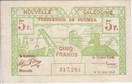 INDOCHINE - NOUVELLE CALEDONIE. Trésorerie De Nouméa. 5 Francs - - Indochine
