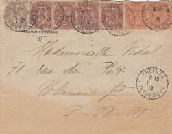 1918. BELLE LETTRE AVEC 7 TIMBRES BLANC. T B4. ORCINES PUY DE DOME/ 5865 - France