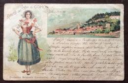 RICORDO DEL LAGO DI COMO BELLAGIO CONTADINA BRIANZOLA - AFFRANCATURA MISTA ITALIA/GERMANIA - 1898 - MOLTO INTERESSANTE - Como