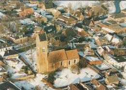 NL.- Tolbert. Luchtfoto Van Tolbert Met De Hervormde Kerk. Dubbele Kaart. 2 Scans - Tolbert