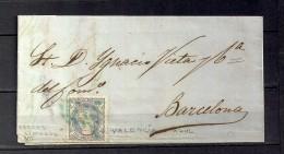 1870  CARTA CIRCULADA ENTRE VALENCIA Y BARCELONA, BARRAS LIMADAS DE VALENCIA EN AZUL - 1868-70 Gobierno Provisional