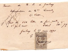 Inhumation 2ème Classe De 1891 à Notre Dame De GUIBRAY à FALAISE, Format  16 X 10, Timbre Fiscal - Manoscritti