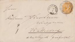 T&T GS-Umschlag 2 Kreuzer Saalfeld 31.3.1865 Gel. Nach Wallendorf - Thurn Und Taxis