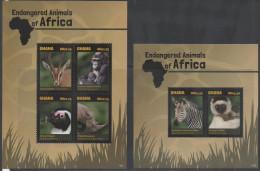 GHANA, 2014, MNH , ENDANGERED ANIMALS OF AFRICA,PENGUINS, GORILLAS, RHINOS, ZEBRAS, GAZELLES, LEMUR,  SHEETLET +S/SHEET - Gorillas